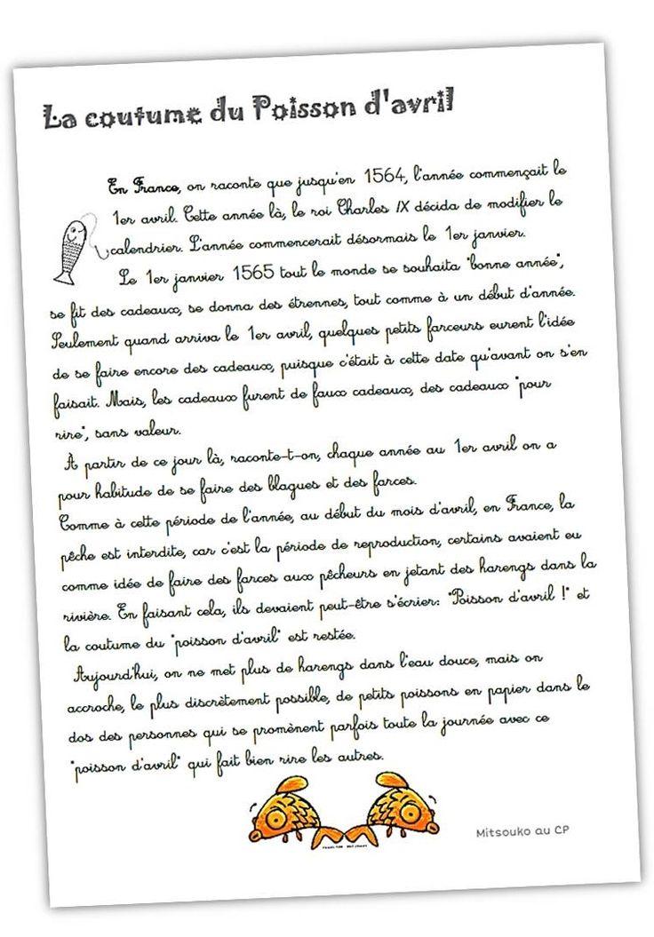 """Explications sur la coutume du """"poisson d'avril"""" ... et des idées de lectures, poèmes et activités sur ce thème ..."""