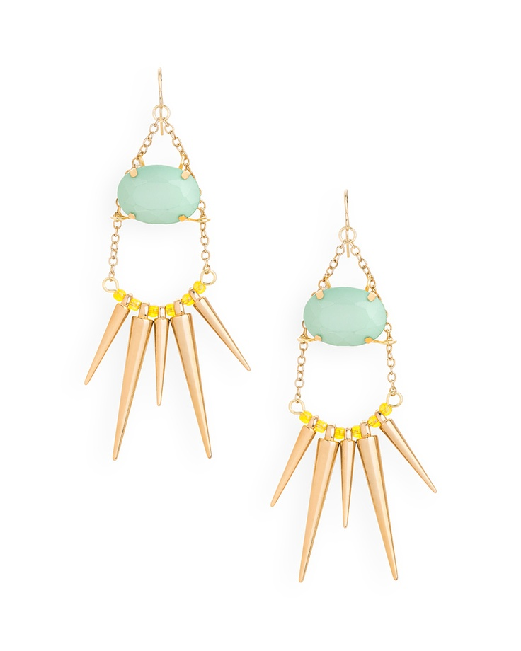 Liberty Spike Earrings in mint and yellow! So fun