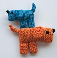 Instrucciones y fotografías para tejer un perrito utilizando dos agujas.