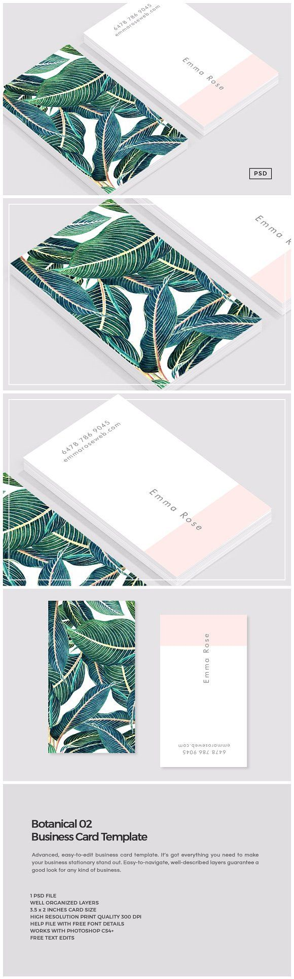 Botanical 02 Business Card Template  by The Design Label on @Creative Market