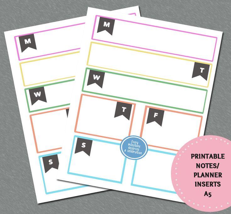 PRINTABLE Planner Inserts - Notes - A5 Milestones Notes by CuteCoconutShop on Etsy
