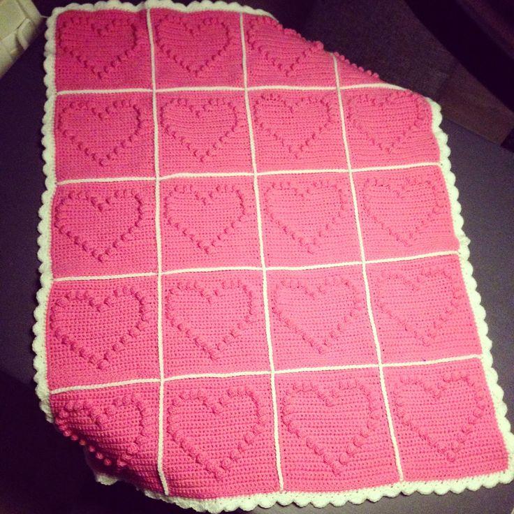 Bobble heart blanket free pattern, gehaakte baby deken gratis patroon.