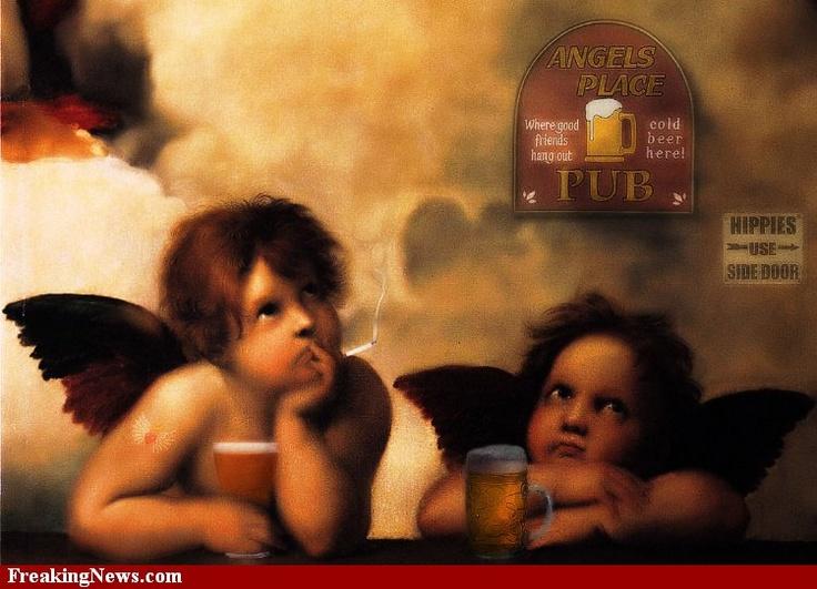 Angels Smoking and Drinking BeerAngels Smoke, Sources Freakingnewscom