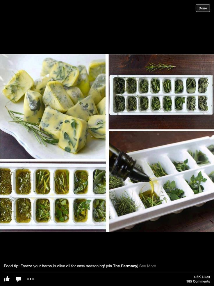 Another way to save freshly grown herbs before they dry. Freeze them in olive oil!
