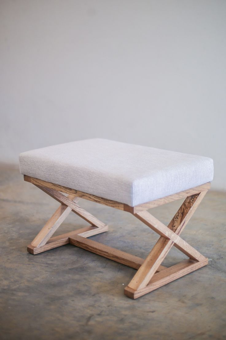 """Oak """"X"""" Stool from APlace"""