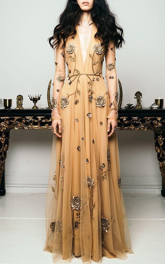 Besticktes Kleid mit Vögeln und Honig von Cucculelli Shaheen