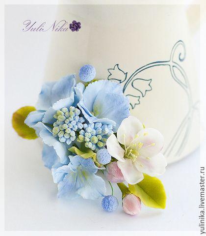 Broche artesanal.  Masters Feria - hecho a mano.  Comprar broche con el azul hortensia.  Hecho a mano.  Azul, manzano, flor broche