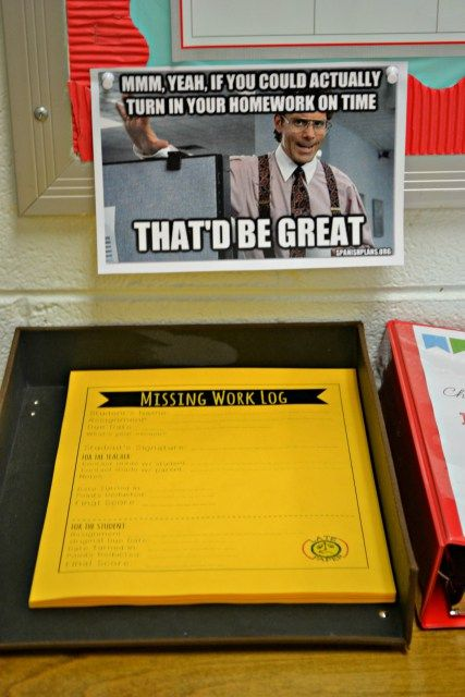 """On the day an assignment is due, the rule in my classroom is that EVERYONE turns SOMETHING in.  If a student does not have his/her assignment, he/she must fill out one of these Missing Work Logs (which I affectionately call """"The Yellow Sheet"""" because they are printed out bright yellow paper) and turn it in in place of said assignment.  Blank logs are kept in a stack at the front of my classroom, and my students know to grab one if they are missing an assignment on a due date."""