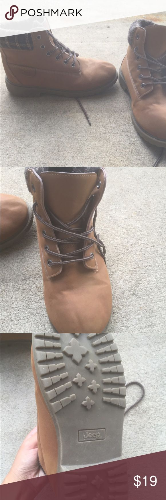 Jeep Boots  Barely worn Jeep Boots! See picture for the bottom of the shoe! Got as a gift and were too big for me. Says men's size 5 but I'd say fits like a women's 7.5. Soooo cute especially with shorts or in the winter. Note: they are lighter in weight than timberlands which is nice Jeep Shoes