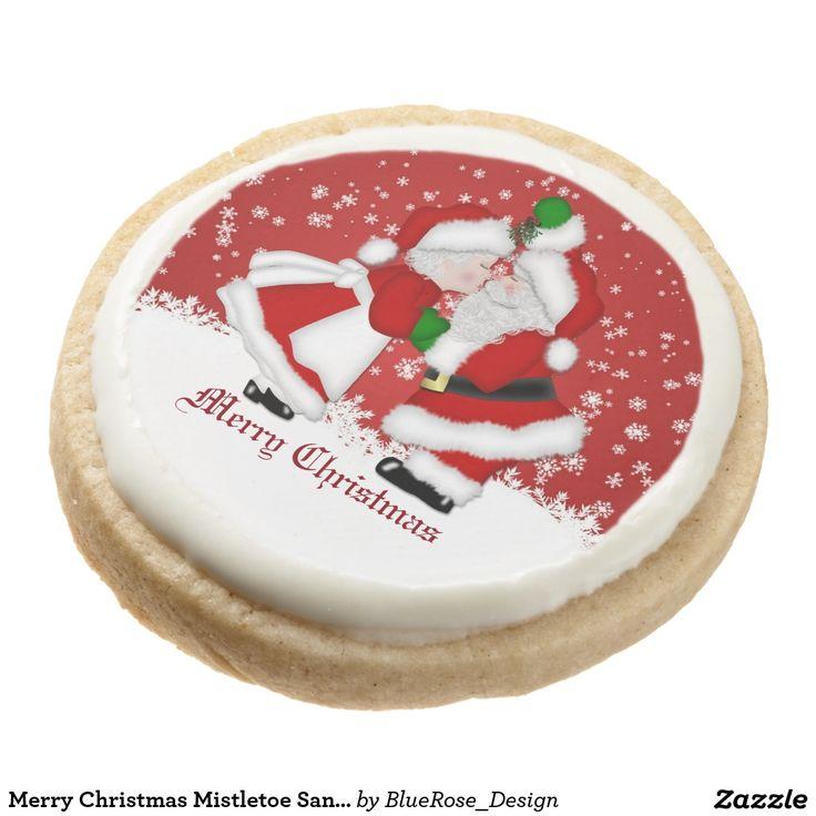 Merry Christmas Mistletoe Santa Cookies Round Premium Shortbread Cookie