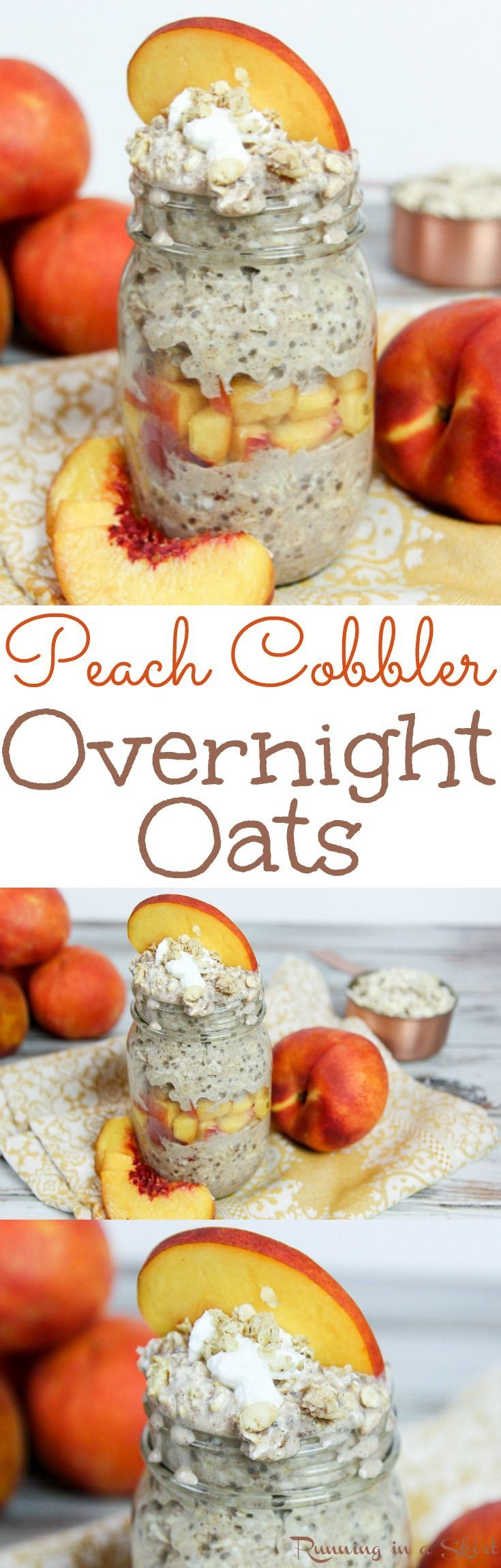 Peach Cobbler Overnight Oats recipe! A healthy peach overnight oats in a jar with almond milk, cinnamon and greek yogurt. The perfect way to start your mornings. Includes a diary free, without yogurt option. / Running in a Skirt
