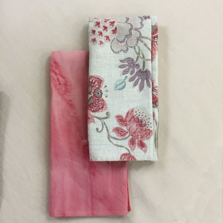 The coral tie dye and pink perfume serviettes and a great combo