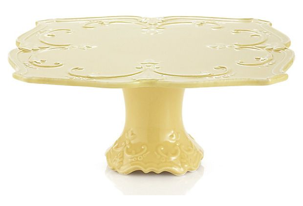 Fleur-de-Lis Cake Plate, Yellow - Adorned with a classic, embossed fleur-de-lis motif, this cake plate brings a simple elegance to your table.  $24