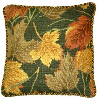 Leaves of Autumn Needlepoint Throw Pillow with Tassels