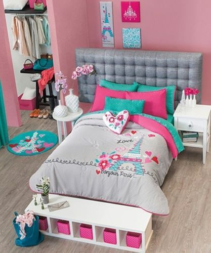 new girls gray aqua blue pink paris comforter bedding sheet set twin size 6 pc beautiful. Black Bedroom Furniture Sets. Home Design Ideas