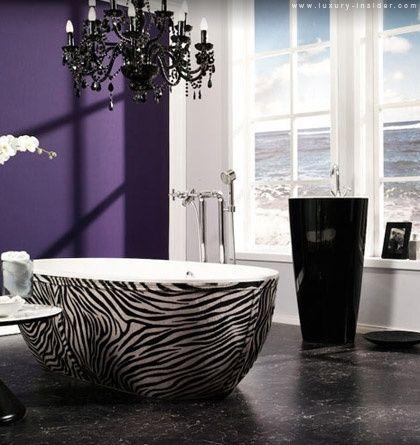 Zebra tub! Now this is my kind of tub ;): Wall Colors, Idea, Bath Tubs, Bathtubs, Zebraprint, Dreams Bathroom, Zebras Prints, Purple Wall, Accent Wall