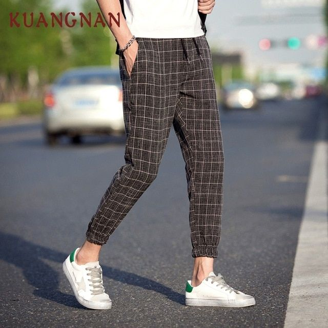 31f9bcedd KUANGNAN Casual Plaid Pants Men Drawstring Streetwear Ankle-Length Harem  Pants Men Joggers 5XL Men Pants Clothing 2018 Autumn