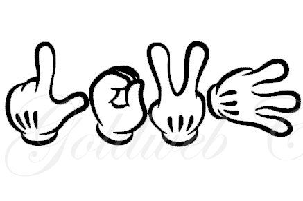 Love Mickey Mouse Inspired sign language Car Vinyl Decal | Pinterest ... Mickey Mouse Love Drawings