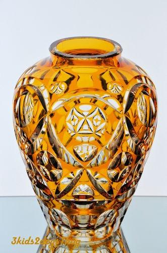 Vintage Bohemian German Amber Gold Cut to Clear Crystal Vase
