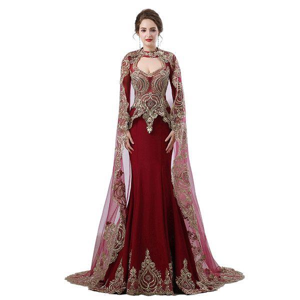 Burgundy Arabic Mermaid Evening Dresses 2018 Robe De Soiree Long Sleeve Formal Gown Women Party Prom Dress Real Photo