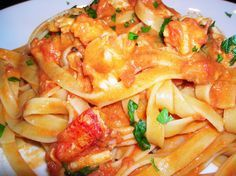 Fettucine with Pink Lobster Sauce Added puréed roasted red peppers with the tomatoes. Delicious!
