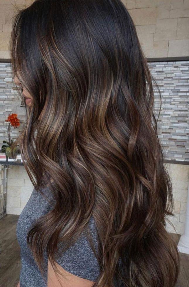 Mit dunkelbraune hellen strähnen haare Kurze Braune