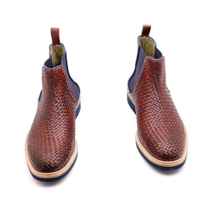 Scarpe primavera / estate per l'uomo, scarpe caviglia, di colore marrone, tessuti in vera pelle, suola micro, con disegno antiscivolo e cuoio, lavorata a mano in Italia.