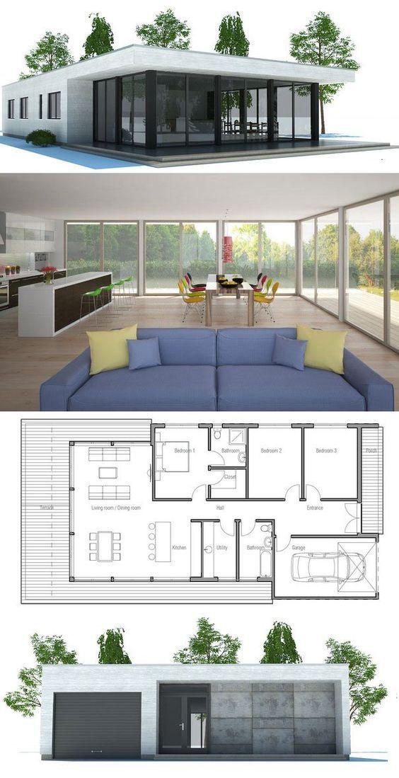 Contemporary Home Plan to narrow lot Open