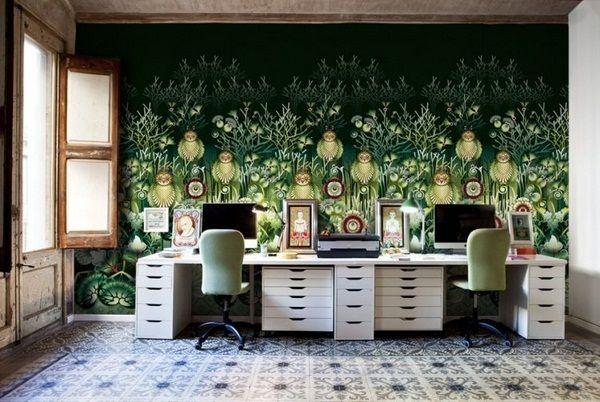 Wall painting ideas green figures mural maerhenhaft workroom tile pattern designs