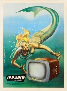 Boccasile - 1957Vintage Posters, Irradio Mermaid, Vintage Illustration, Vintage Tv, Vintage Magazines, Vintage Mermaid, Vintage Ads, Vintage Advertising, Gino Boccasile