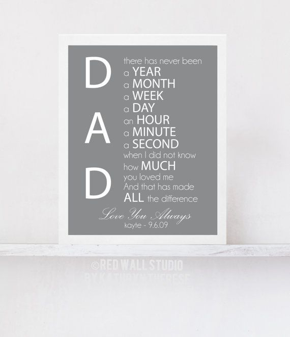 Fathers Day Dad Gift Personalized Wall Art Print For Him Birthday Wedding Father Of The Bride 8x10 Or 11x14 Inch Home Decor