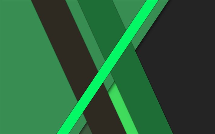 Download wallpapers green abstraction, material design, android, geometric abstraction, green lines