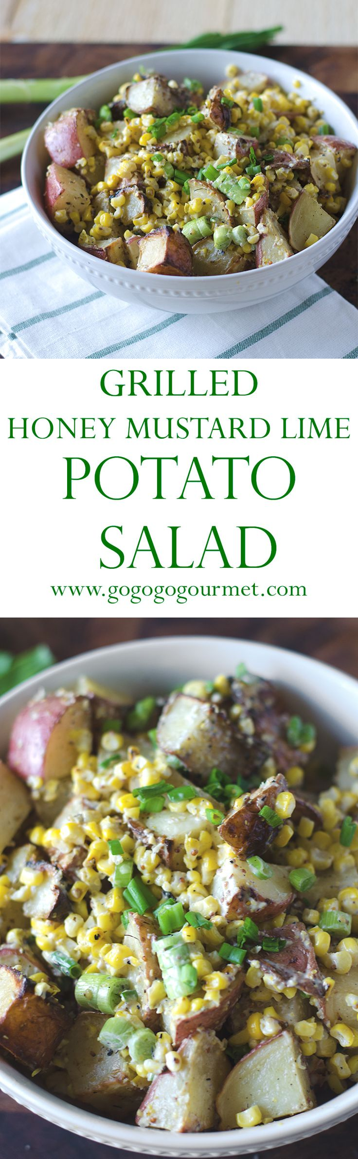 A different twist on potato salad- a grilled potato salad with honey mustard, summer corn and green onions. | Go Go Go Gourmet @gogogogourmet