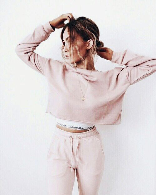 Pink cropped sweatshirt & Calvin Klein crop top.