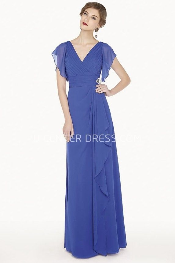 $102.89-Modern V Neck Side Drape Chiffon Long Blue Evening Gown With Ruffled Short Sleeves. http://www.ucenterdress.com/v-neck-side-drape-a-line-chiffon-long-prom-dress-with-ruffled-short-sleeve-pMK_301336.html.  Shop for affordable evening gowns, prom dresses, white dresses, party dresses for women, little black dresses, long dresses, casual dresses, designer dresses, occasion dresses, formal gowns, cocktail dresses . We have great 2016 Evening Gowns on sale now. #evening #gowns