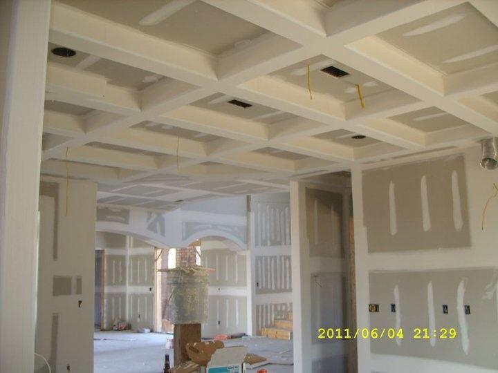 Coffered Ceilings Using Bullnose Corner Bead Drywall In