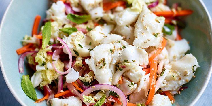 Vietnamese salade met zwarte heilbot