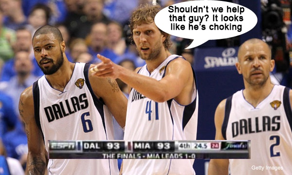 """Dirk Nowitzki points to LeBron James in the 4th Quarter of the Dallas Mavericks vs. Miami Heat NBA Finals 2011: """"Shouldn't we help that guy? It looks like he's choking!"""" #basketball"""