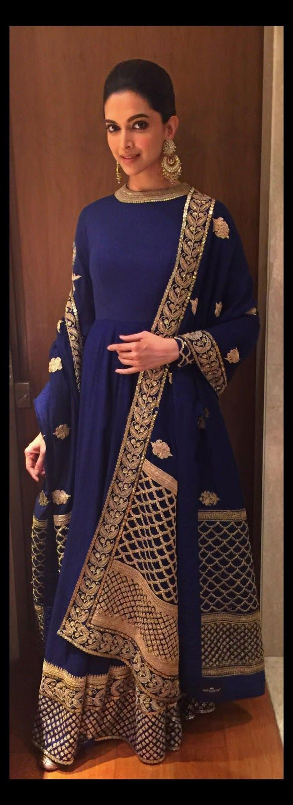 Deepika Padukone wore a Blue High Neck Anarkali Dress by Sabyasachi for the Telegraph Dinner in Kolkata
