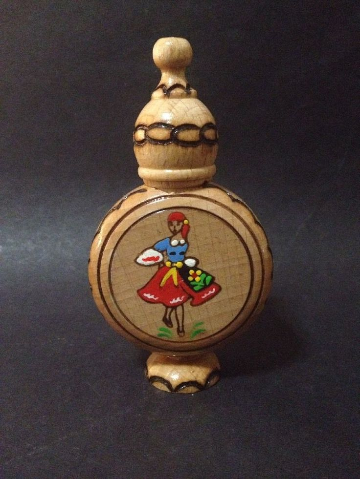 Estate Find - Wooden Perfume Bottle w/ screw lid & detailing - From Bulgaria
