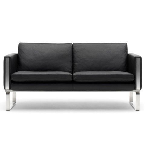 hans j wegner black leather 2 seater sofa - Google Search