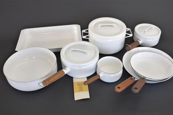 Danish Modern Arabia White Finel Seppo Mallat 1970's Enamel Cookware Lot   eBay sold 696.54