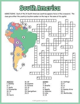 South America Geography Crossword Puzzle: This crossword will help students review and learn the names, locations and capitals of the 14 South American countries.  Each country name appears twice in the puzzle.  The clues give either the country's location number as noted on the included map or the name of its capital.