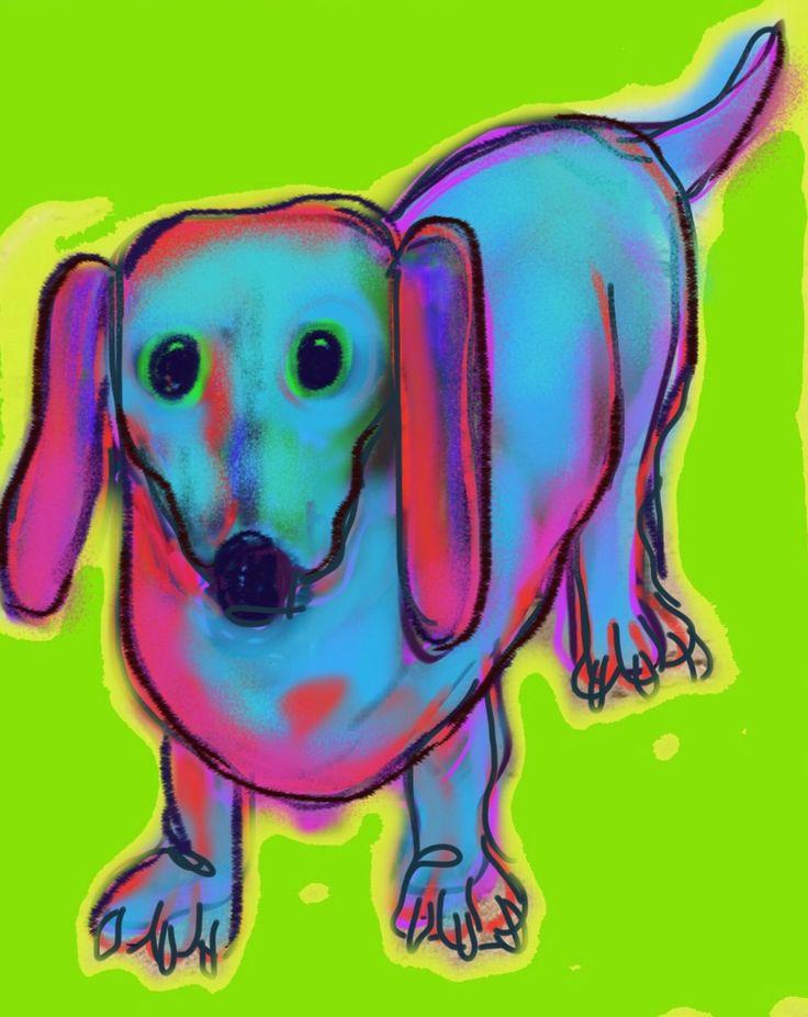 Daschund on Crosby Beach. Small dog drawn on an iPad