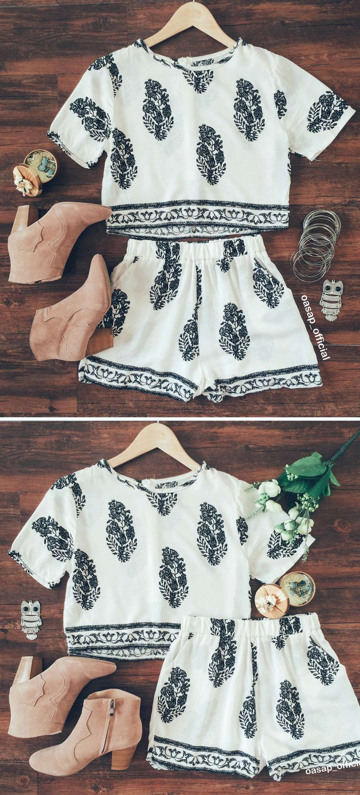 On days when you're too rushed to even think of what to wear, reach for this outfit.Dress it up and you'll be comfy and cute all day long. Bohemian floral print.More surprise at OASAP!