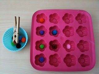 fine motor & finger strength - I think my guy will like making patterns with his colored pompoms