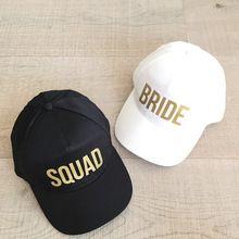 BRUID SQUAD Baseball Caps Golden Print Nieuwe Stijl Hoeden Vrouwen Bruiloft Preparewear Wit Zwart Hiphop Zomer Caps Liefhebbers Hoeden(China (Mainland))