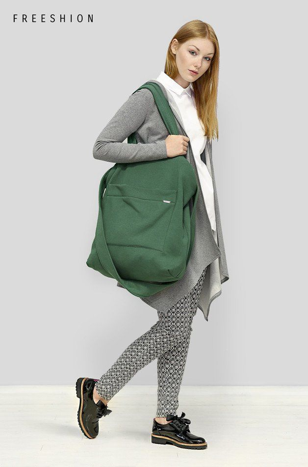 FreeBag - zielona, dresowa torba oversize - Freeshion - Torby na ramię