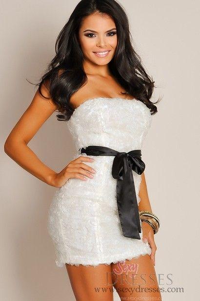 Seductive Ivory White Strapless Mesh Ruffle Tube Top Dress ...
