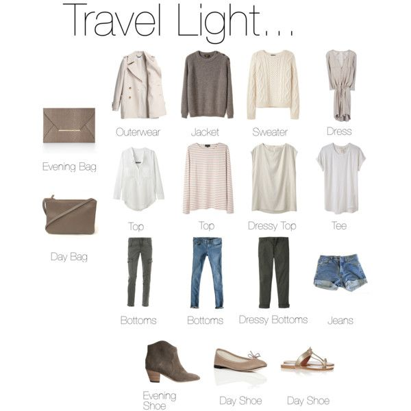 Travel light with these light colored and multipurpose clothes.
